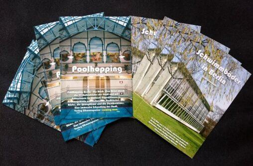 Karten der Zitronenpresse. Poolhopping-Buch und Schwimmbadquartett